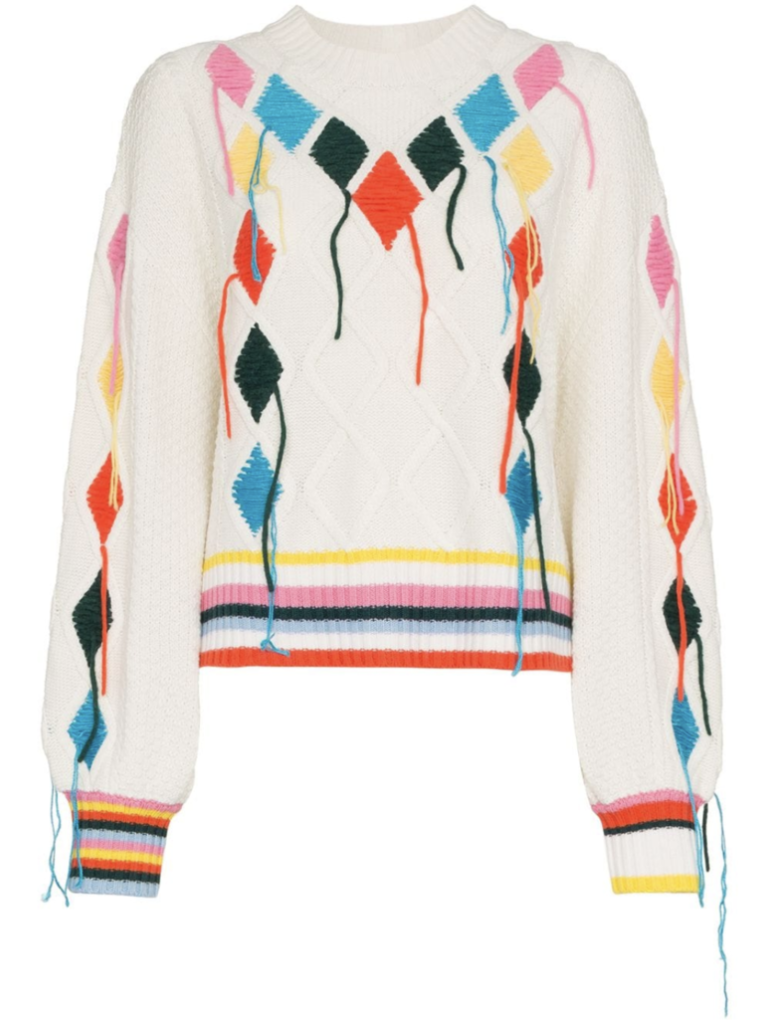 Mira Mikati Long Sleeve Cable Knit Embroidered Sweater
