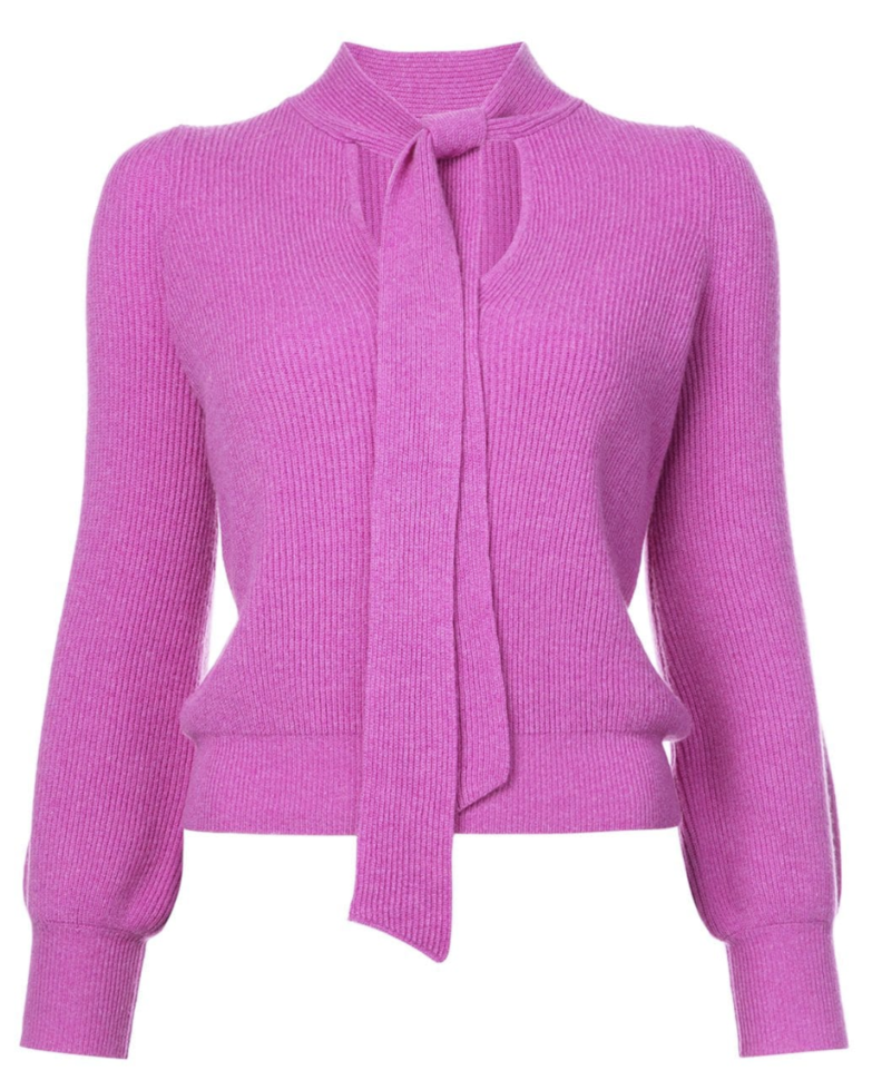 Co Pink Fitted Sweater with Necktie