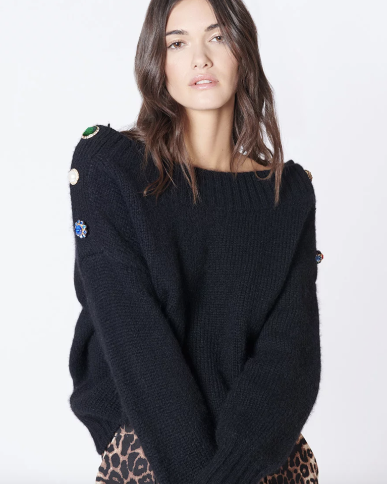 Veronica Beard Chase Sweater - Black Tops