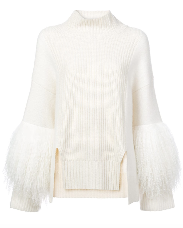 Sally LaPointe Ivory Sweater with Shearling Fur Sleeves
