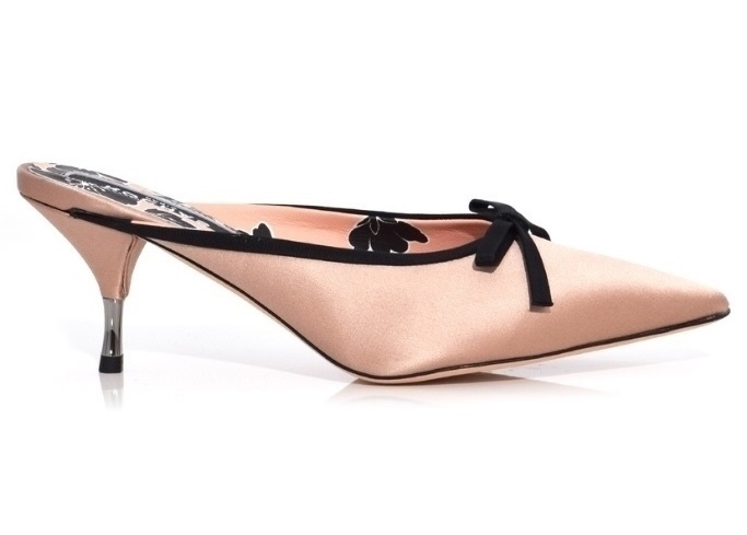 Rochas Satin Pump in Pink/Black Shoes