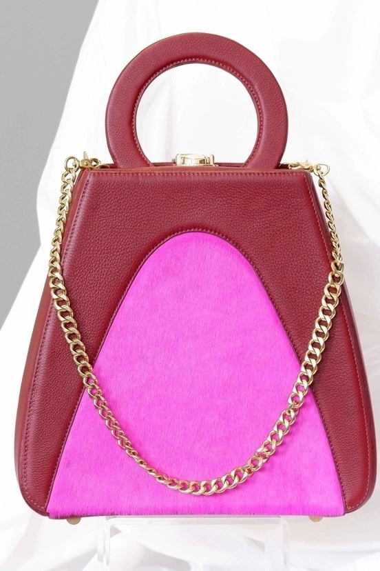 Allison Mitchell not available Sample Tania Tote in Fuchsia Calf Hair
