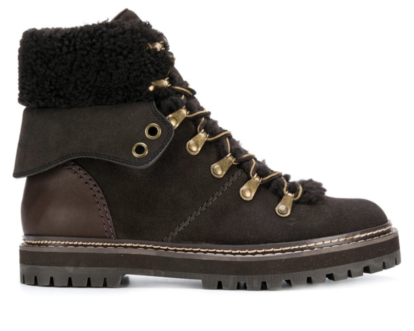 See by Chloé Shearling Hiking Boots Shoes