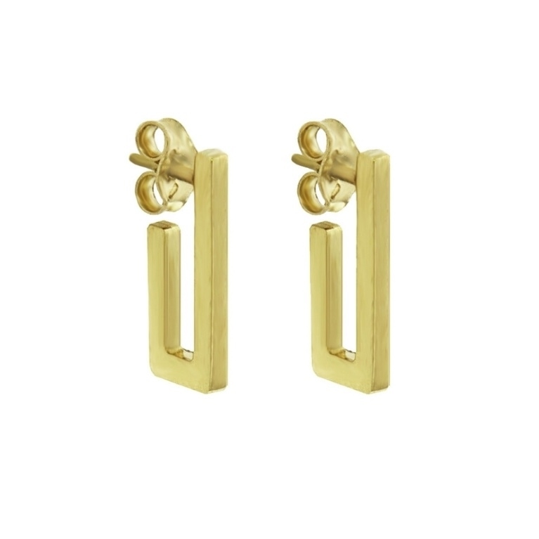 Jennifer Meyer Jennifer Meyer Mini Rectangle Hoop Earrings - Yellow Gold Jewelry