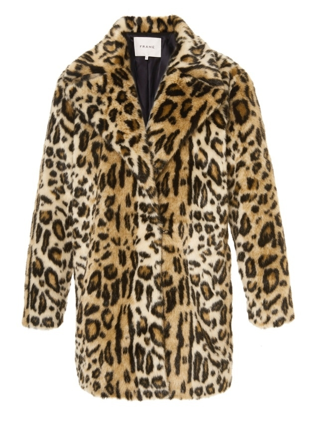 FRAME Cheetah Faux Fur Coat Outerwear
