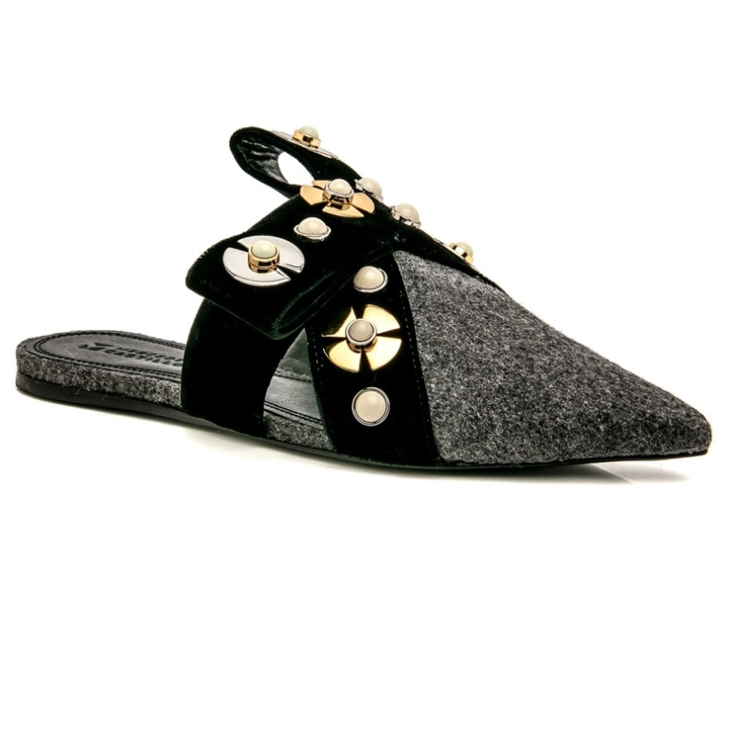 Mercedes Castillo Mercedes Castillo Dark Grey and Black Makato Mule Shoes