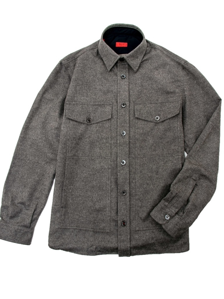 Isaia Isaia Grey Heather Moleskin Overshirt Men's