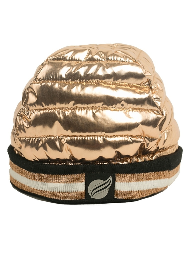 Think Royln Downtown Crown Quilted Hat in Rose Gold Outerwear
