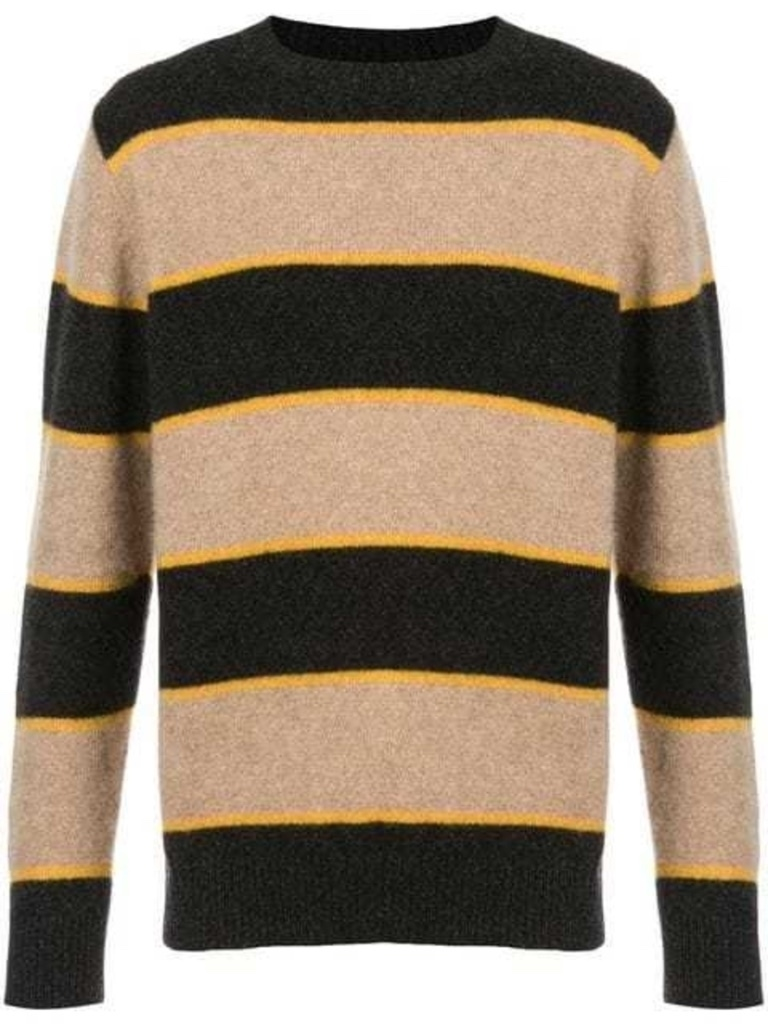 The Elder Statesman STRIPE CASHMERE CREWNECK Men's