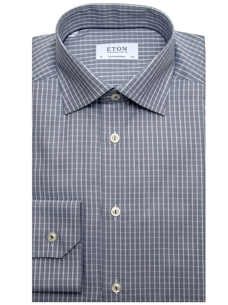 Eton Eton Blue and Tan Check Dress Shirt Men's