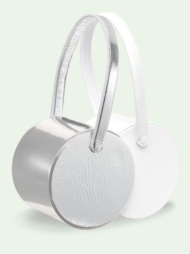 Edie Parker Double Shot Metallic in Silver/White Bags