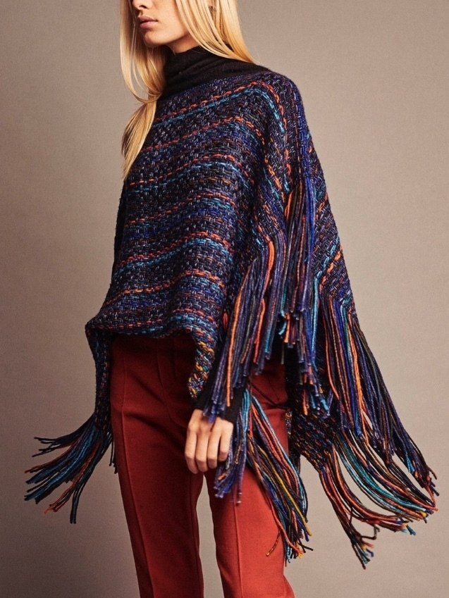 wehve Fringed Poncho - Peacock (Originally $420) Outerwear Sale Tops