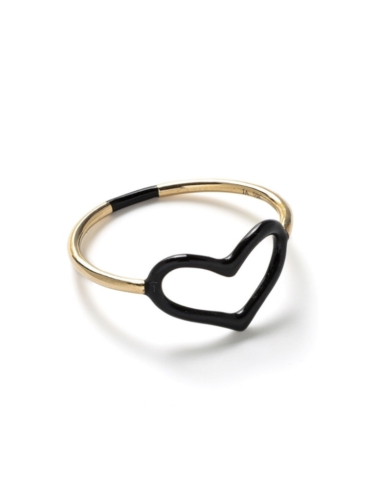 Jordan Askill Jordan Askill Black Enamel Heart Ring Jewelry