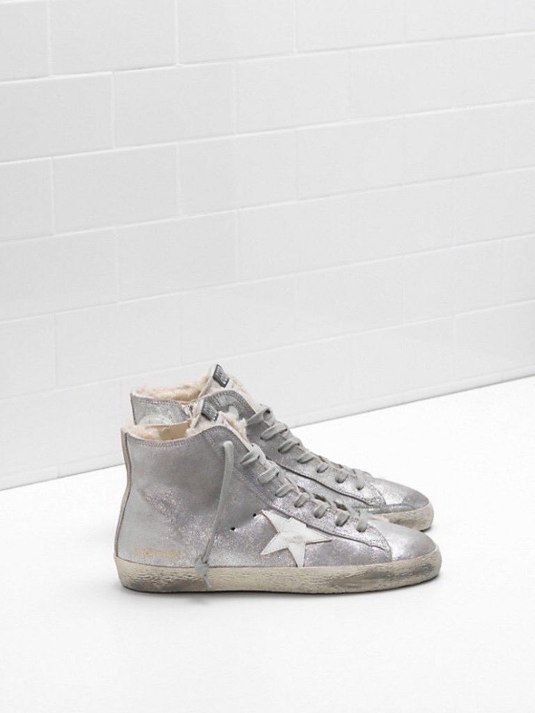 Golden Goose Deluxe Brand Metallic Hi-Tops with Fleece Lining Sale Shoes