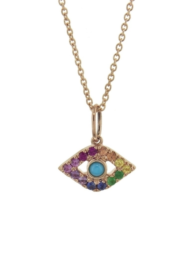 Sydney Evan Sydney Evan Rainbow Large Bezel Evil Eye Necklace Jewelry