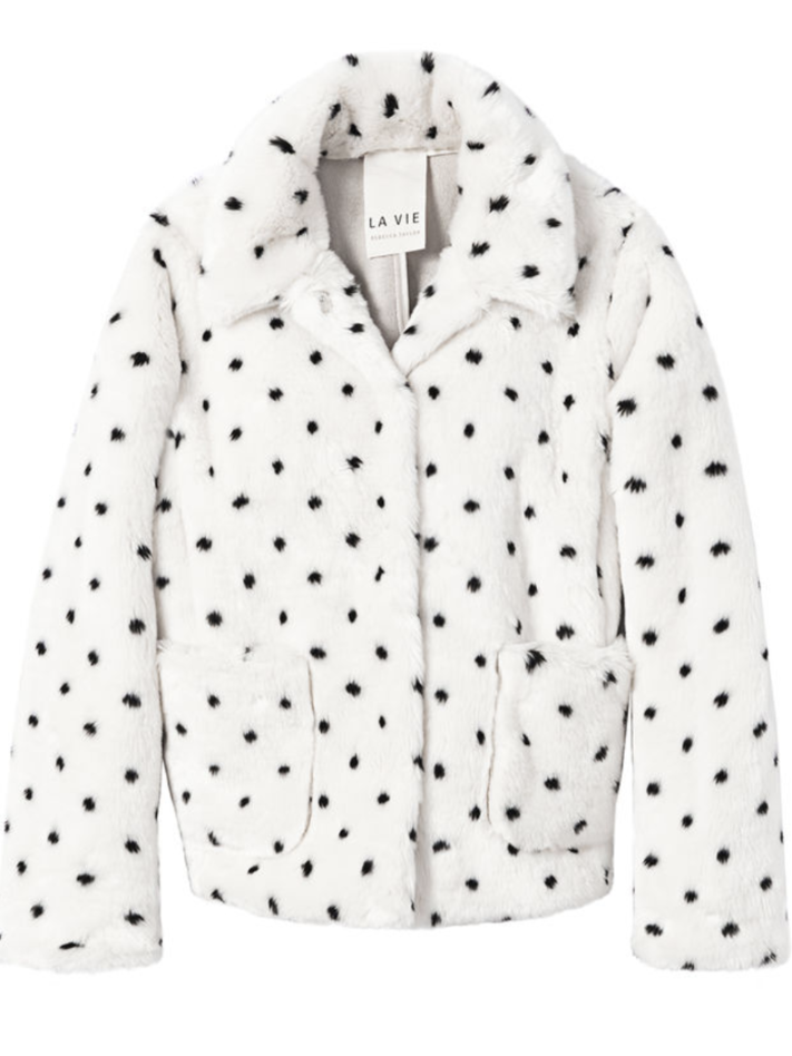 La Vie Rebecca Taylor Polka Dotted Faux Fur Coat (Originally $395) Outerwear Sale