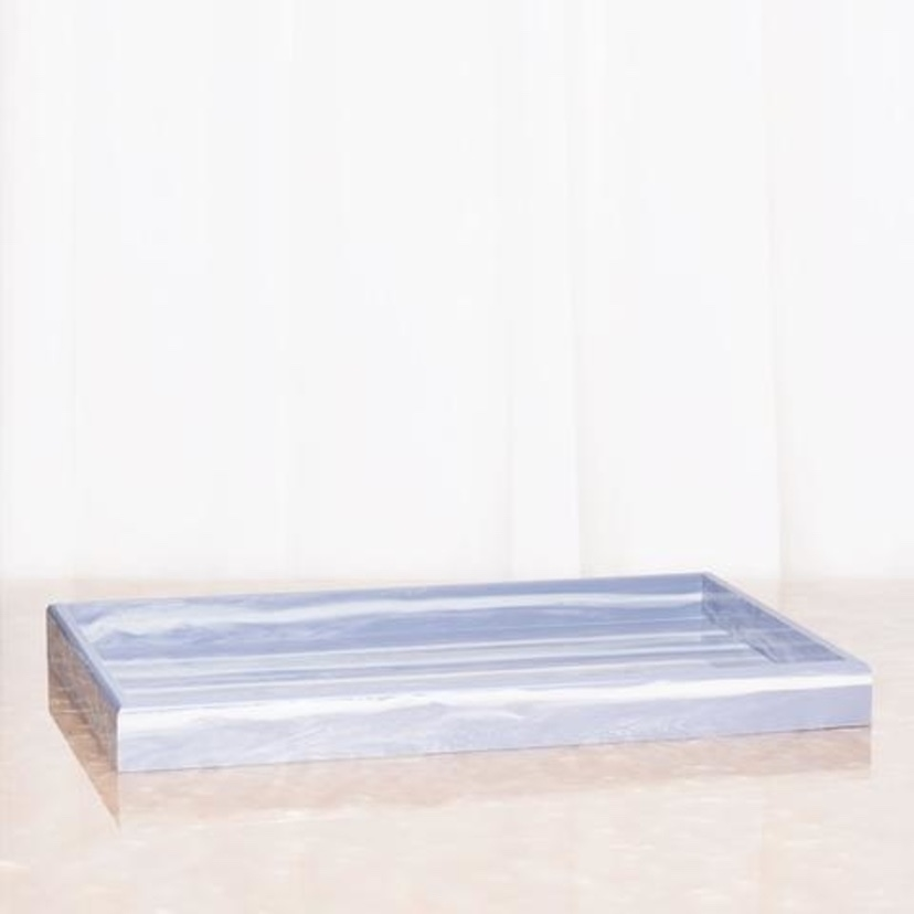 Edie Parker Tray Solid - Grey Marble Home decor