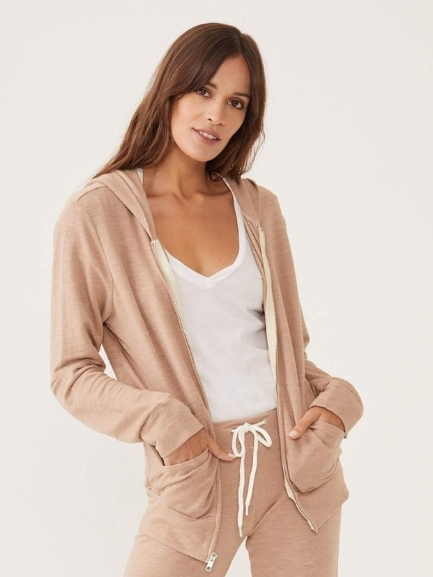 MONROW Monrow Dusty Rose Zip Hoody Tops