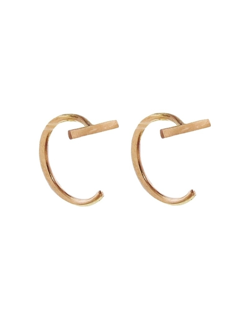Melissa Joy Manning Melissa Joy Manning Gold Bar Hug Hoop Earrings Jewelry