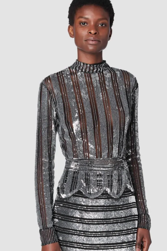 Derek Lam 10 Crosby Mock Neck Sequin Top (Originally $650) Sale Tops