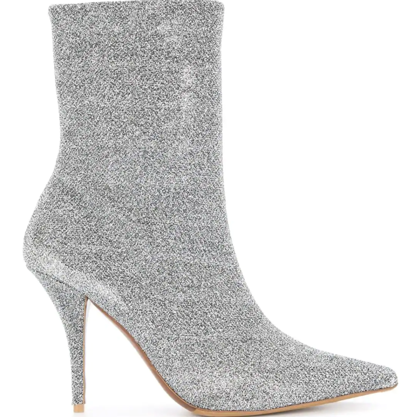 Tabitha Simmons Stretch Lurex Silver Bootie Sale Shoes