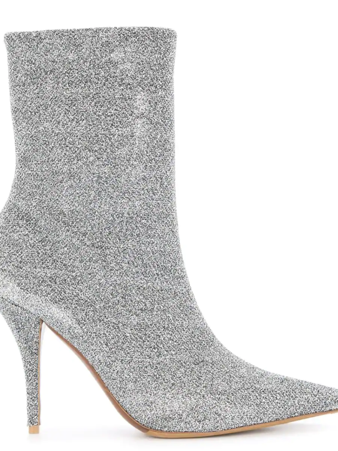 Tabitha Simmons Stretch Lurex Silver Bootie Shoes