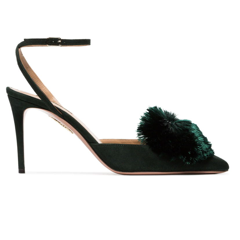Aquazzura Suede Powder Puff Sling 85 in Monet Green (Originally $795) Sale Shoes