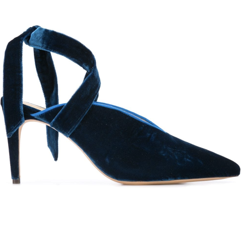 Alexandre Birman Blue Velvet Wrap Heels (Originally $695) Sale Shoes