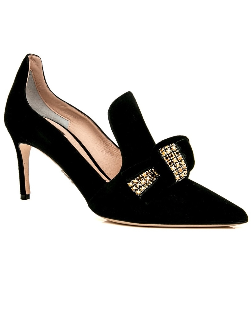 Rodo RODO Black Suede Embellished Pump Shoes
