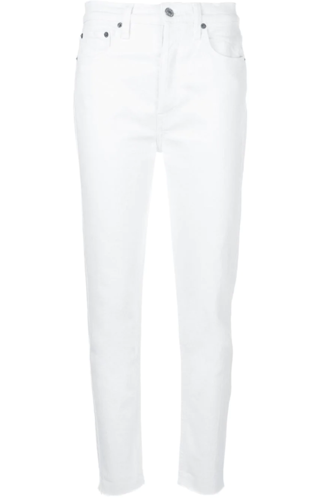 RE/DONE White High Rise Ankle Crop Stretch Jeans (Originally $195) Pants Sale
