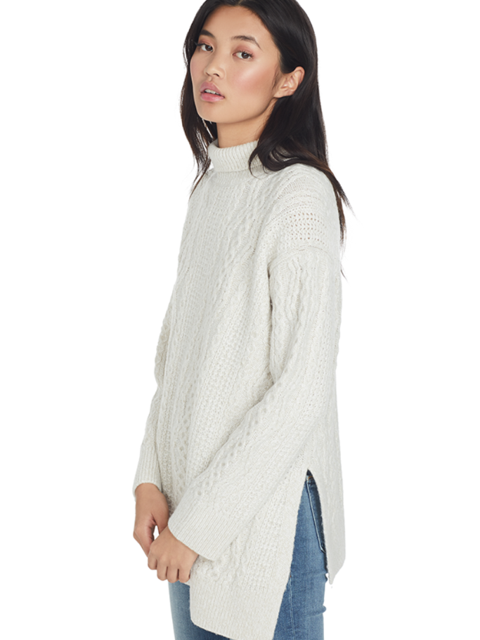 Vince Diagonal Cable Turtleneck (Off White) Tops