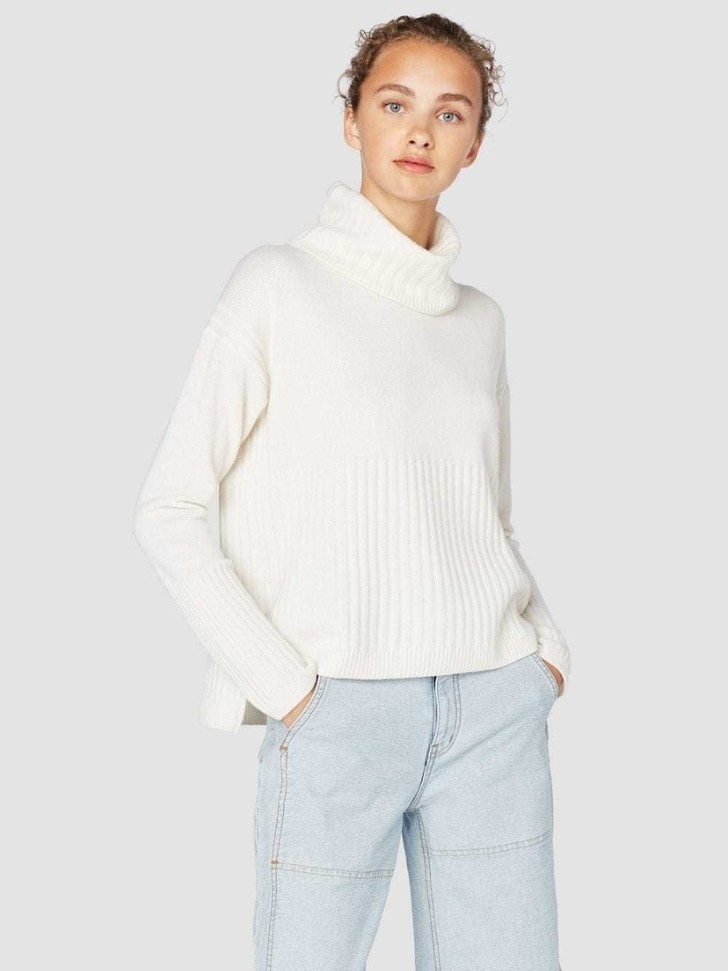 Derek Lam 10 Crosby Ribbed Cashmere Turtleneck Sweater - Ivory Tops