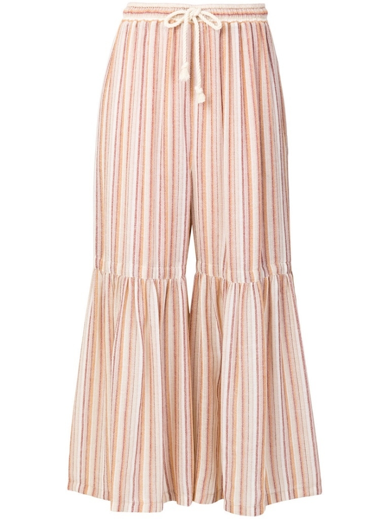 See by Chloé Striped Flare Drawstring Trousers (Originally $335) Pants Sale