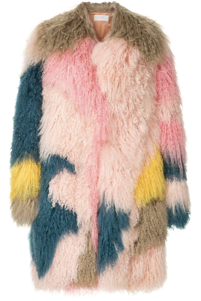 Peter Pilotto Multicolored Shearling Coat (Originally $7,095) Outerwear Sale