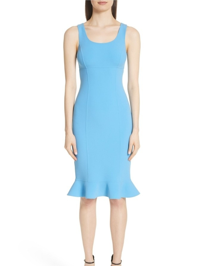 Michael Kors Collection Ruffle Hem Sheath Dress - Porcelain (Originally $1795) Dresses Sale
