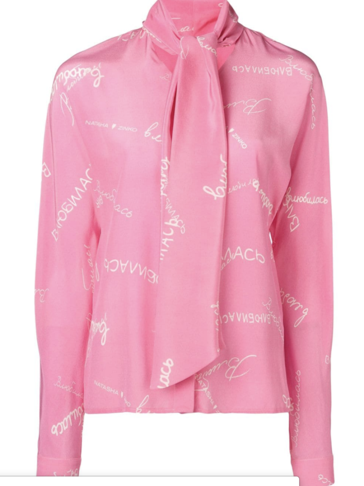 Natasha Zinko Long Sleeve Pink Silk Necktie Blouse (Originally $790) Sale Tops