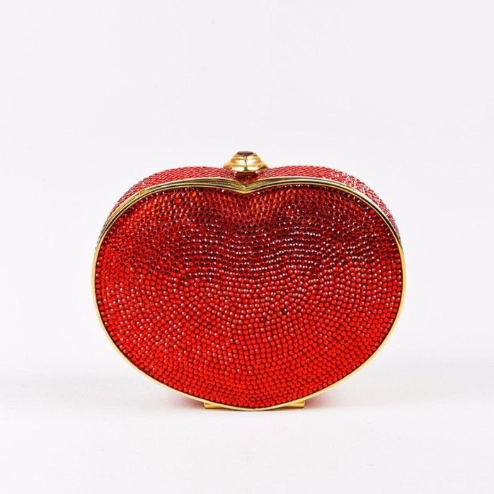 Judith Leiber Red Crystal Embellished Heart Minaudiere Clutch Bag Bags