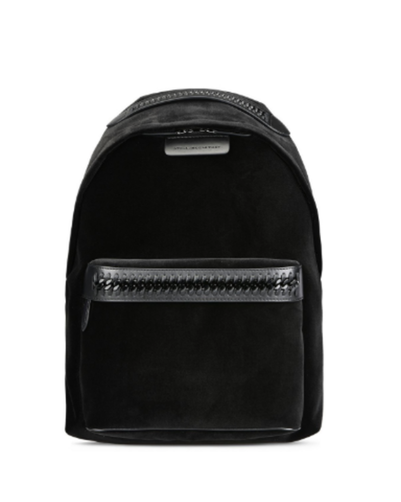Stella McCartney Falabella GO Velvet Medium Backpack in Black Bags
