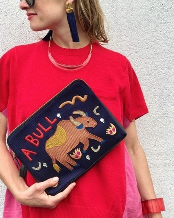 Lizzie Fortunato Safari Clutch in Bull Bags