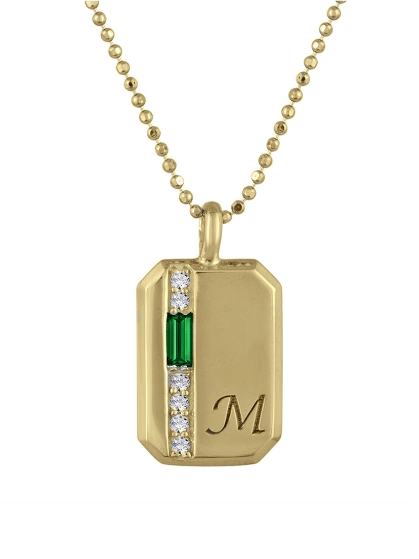 My Story My Story Charlie Emerald Personalized Initial Necklace - Yellow Gold Jewelry
