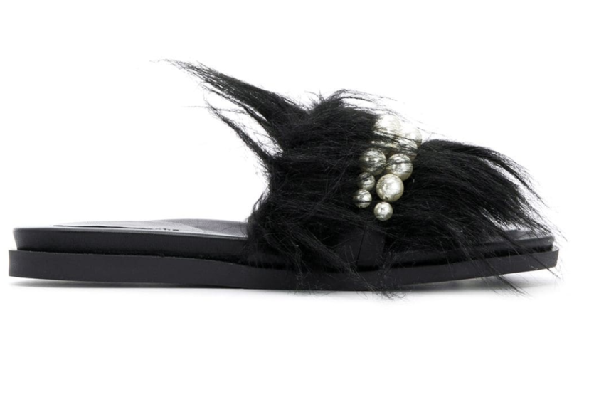Simone Rocha Faux Fur Pearl Slides (Originally $590) Sale Shoes