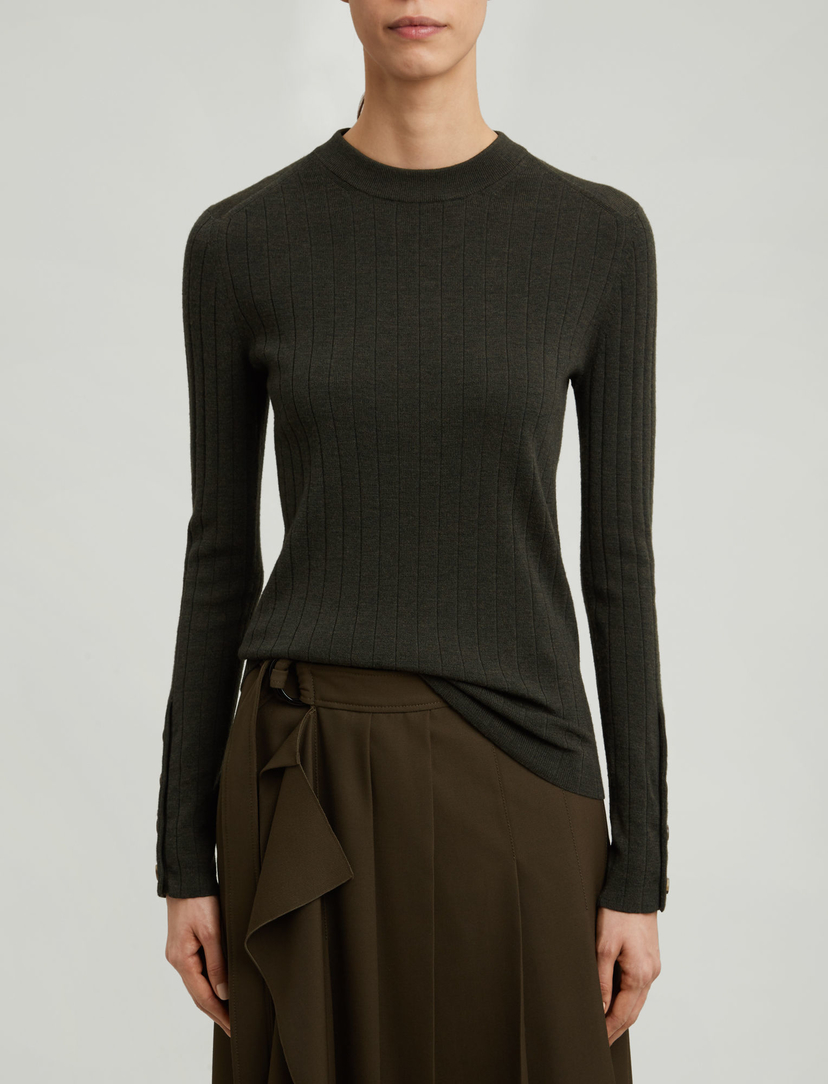 Joseph Fine Merinos Rib Knit - Military Sale Tops