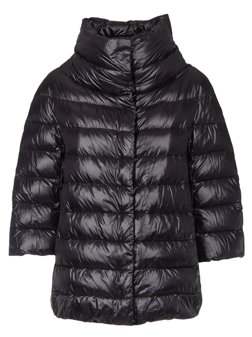 Herno Herno 3/4 Sleeve Funnel Neck Classic Puffer in Black Outerwear
