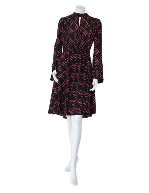 Smarteez Smarteez Black and Red Patterned Crepe Dress (was $795.) Dresses Sale