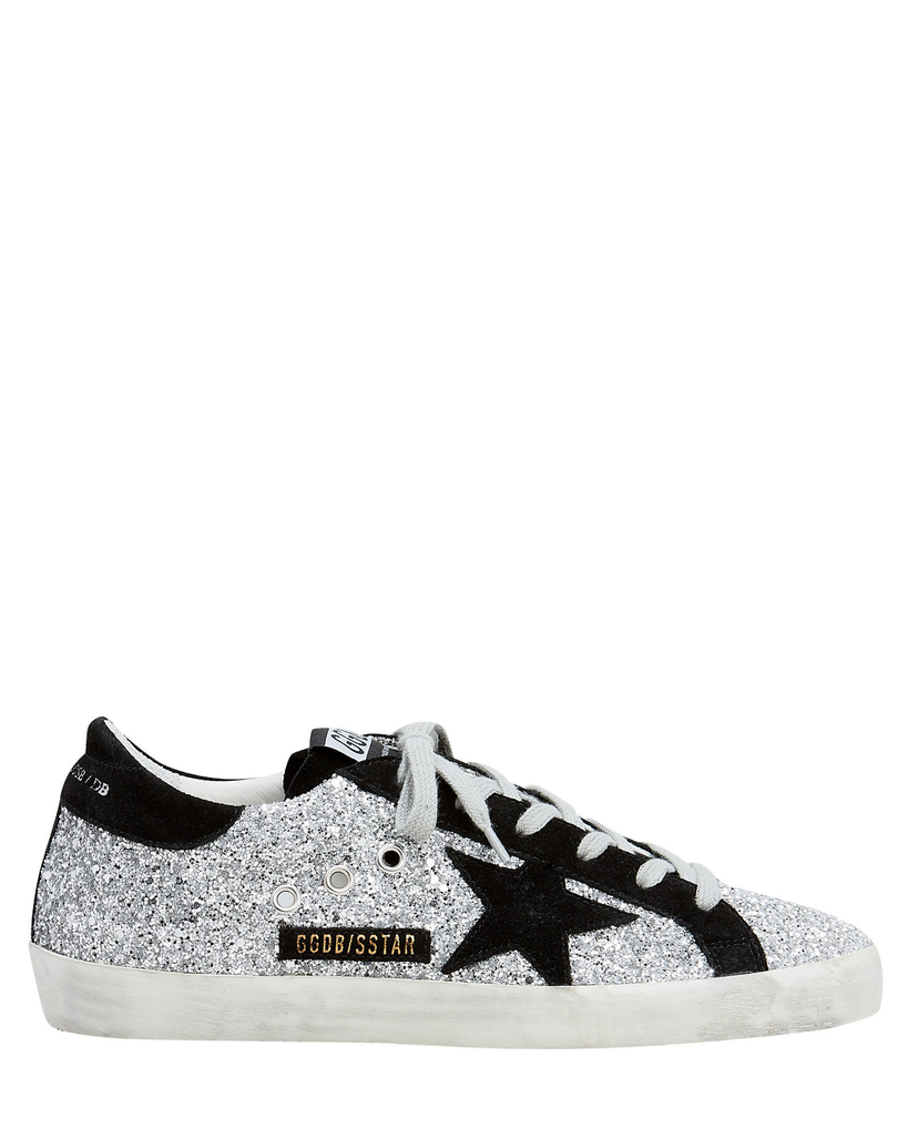 Golden Goose Deluxe Brand Superstar - Black Suede & Silver Glitter Shoes
