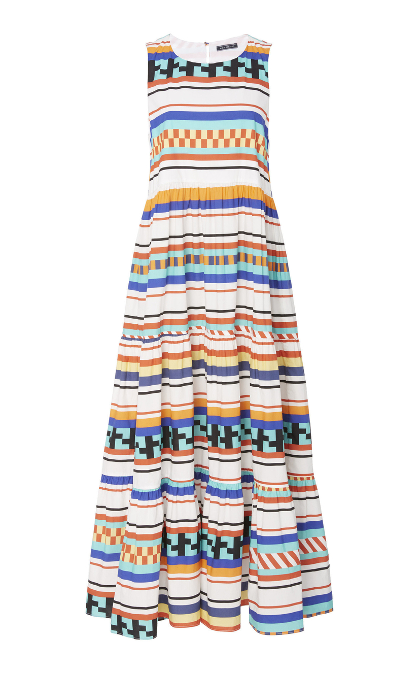 MDS Stripes Sleeveless Maxi Peasant Dress Dresses