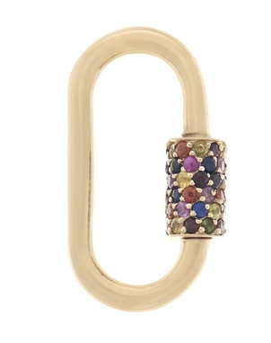 Marla Aaron Marla Aaron Stoned Regular Lock with Mixed Sapphires Jewelry
