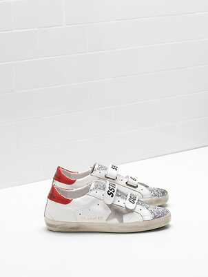 Golden Goose Deluxe Brand Red, Silver, White Old Schools Gifts Shoes