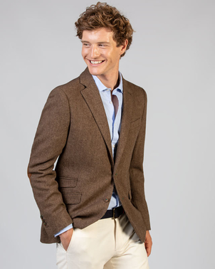 El Ganso Spain Camel Herringbone Wool Blazer Gifts Men's Outerwear