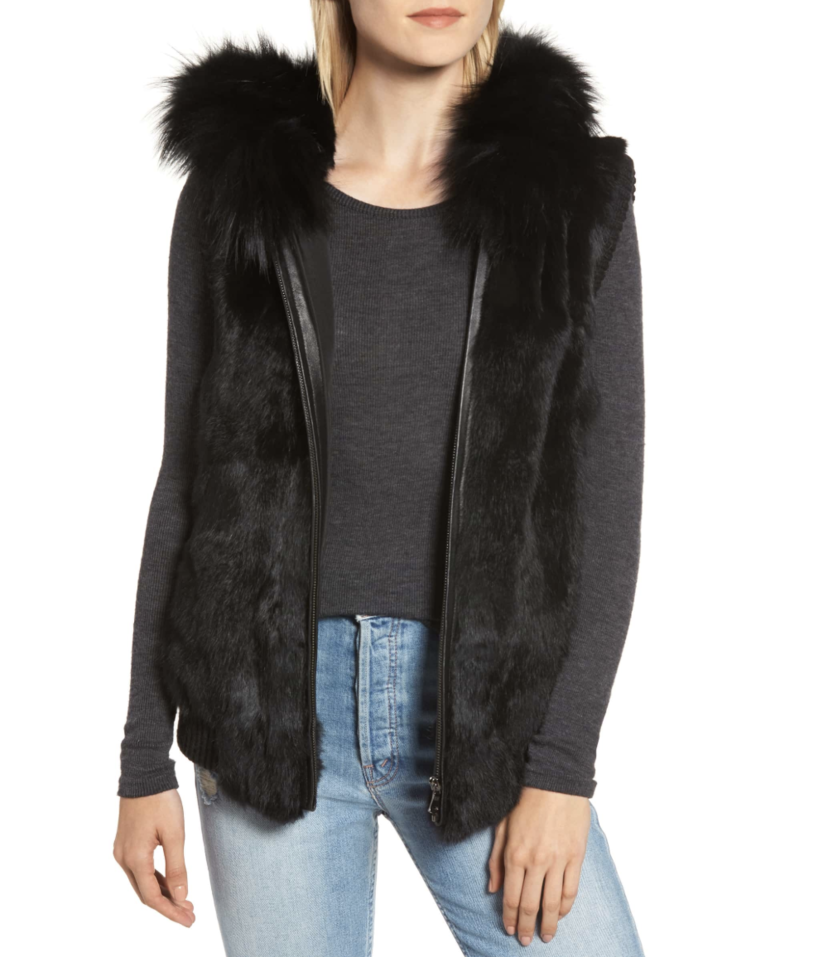 Jocelyn Hooded Fur Vest - Black Gifts Outerwear